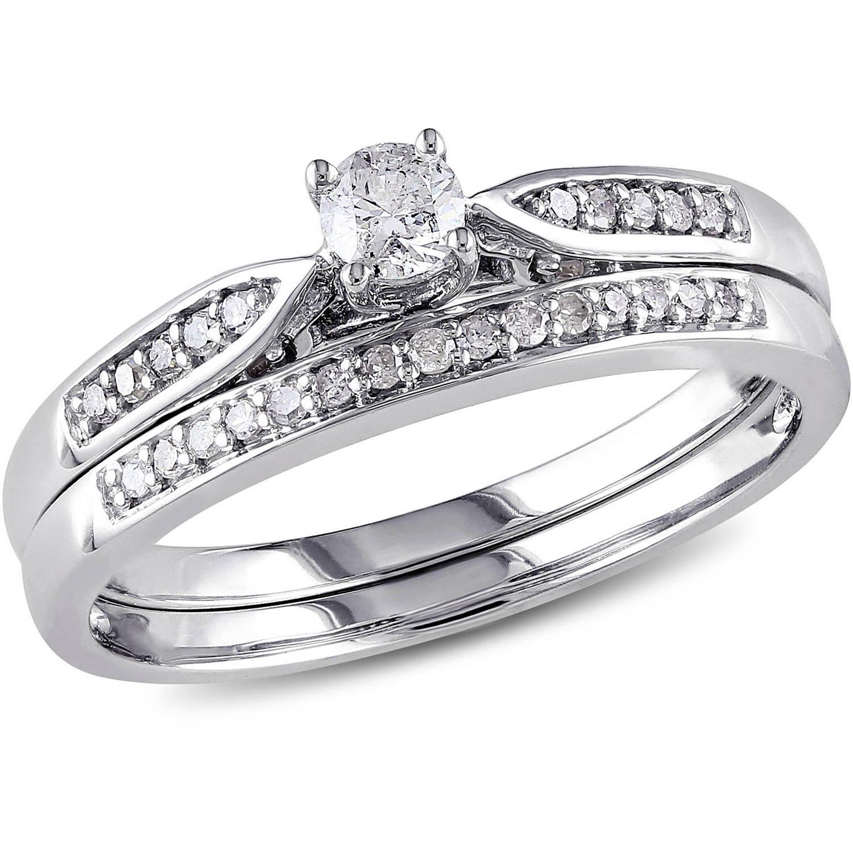 Miabella 1/3 Carat T.W. Diamond 10kt White Gold Bridal Set