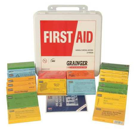Z019821 First Aid Kit, Unitized, White, 17Pcs, 25Ppl
