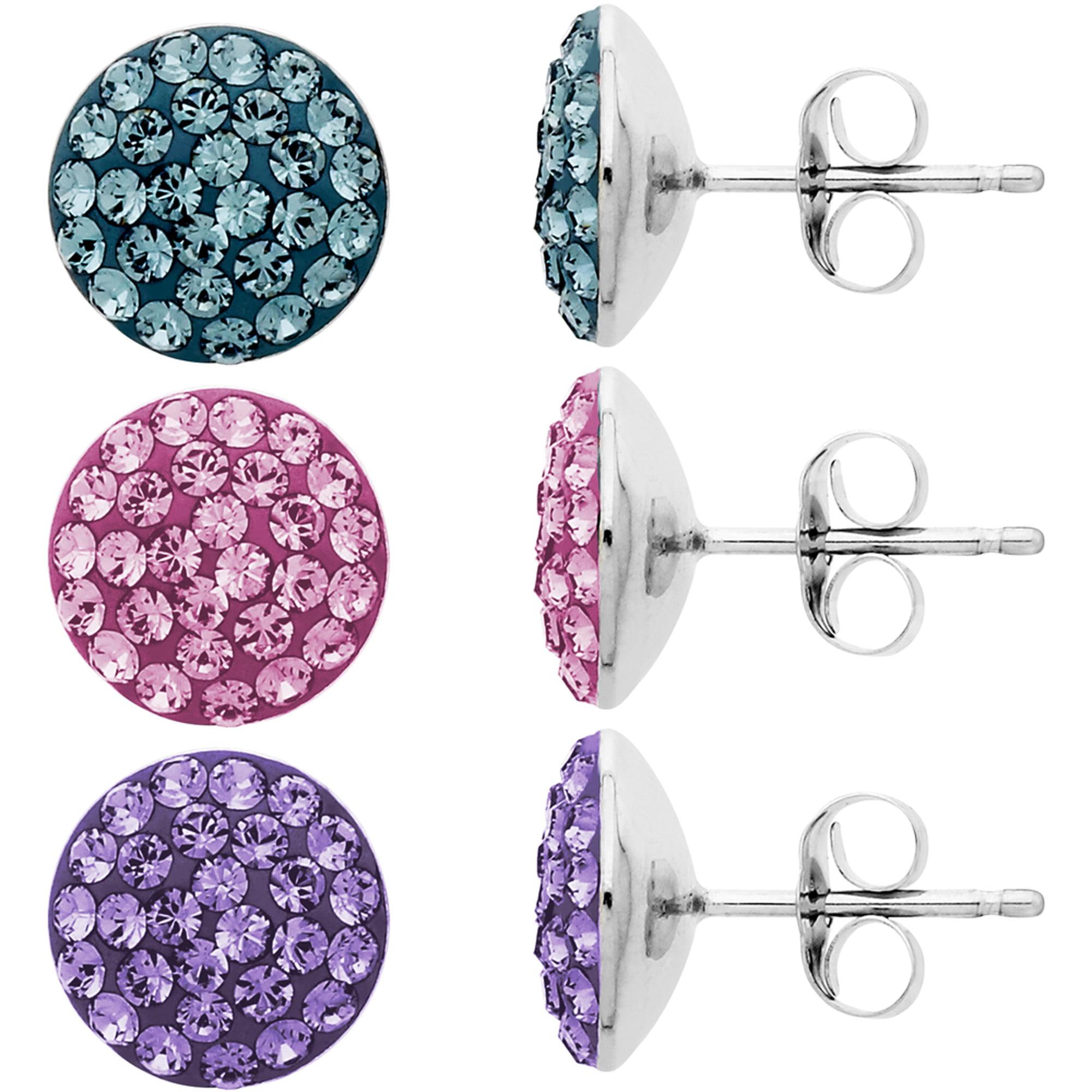 Luminesse Swarovski Element Sterling Silver 3-Piece Stud Earrings