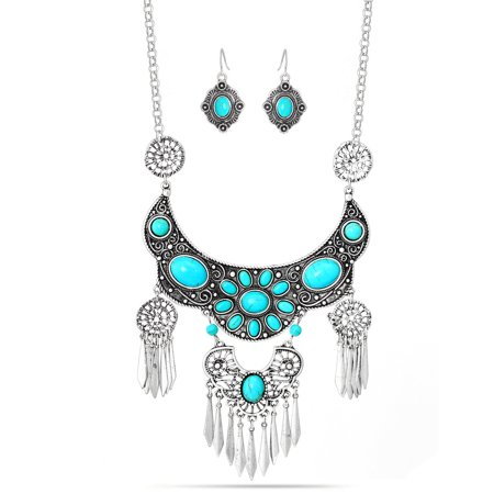 TAZZA WOMEN'S OXIDIZED ANTIQUE LOOK VINTAGE BOHO STYLE SILVER TONE TURQUOISE EARRING AND NECKLACE SET ()
