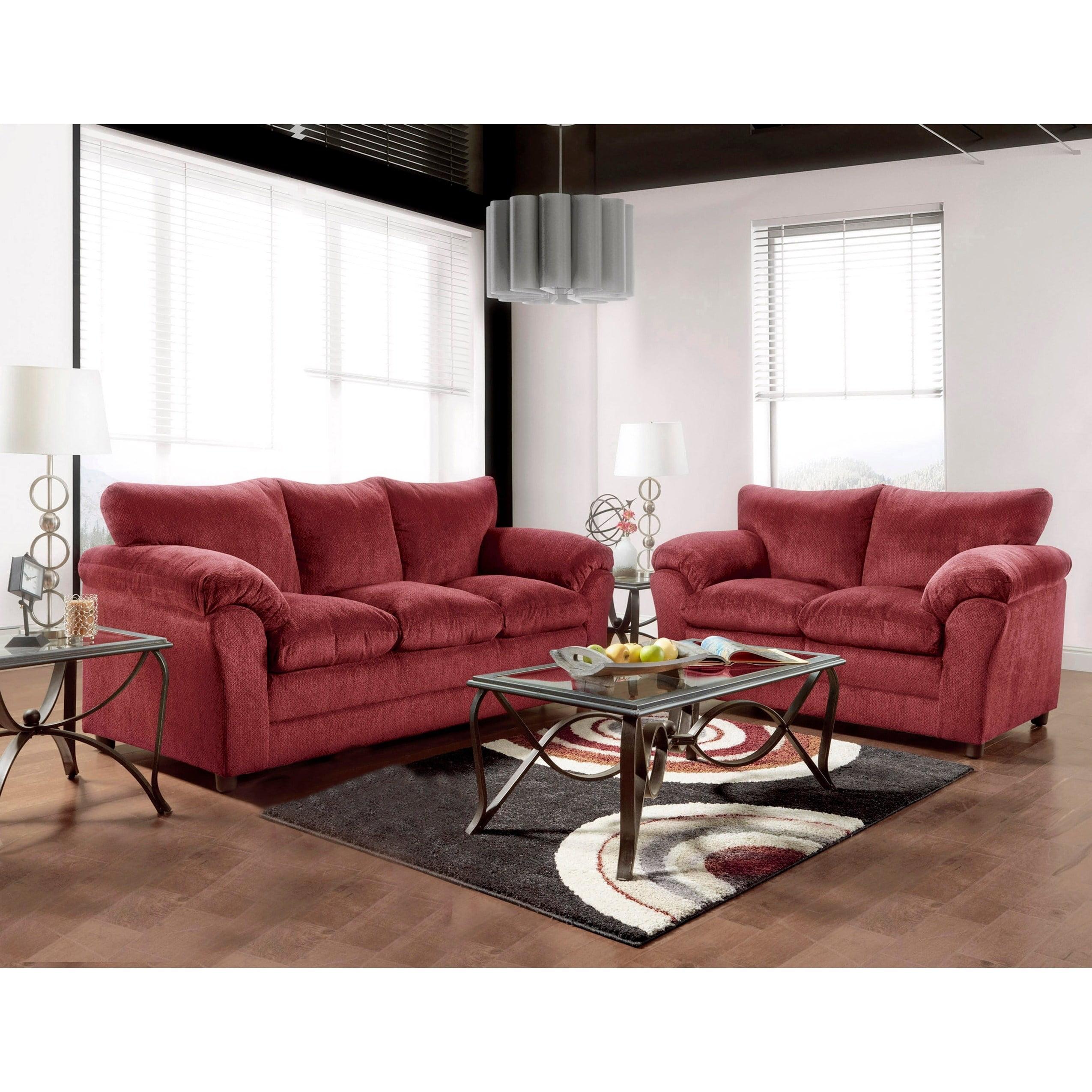 Image of: Clay Alder Home Grandview Burgundy Sofa Loveseat 2 Piece Set Walmart Com Walmart Com