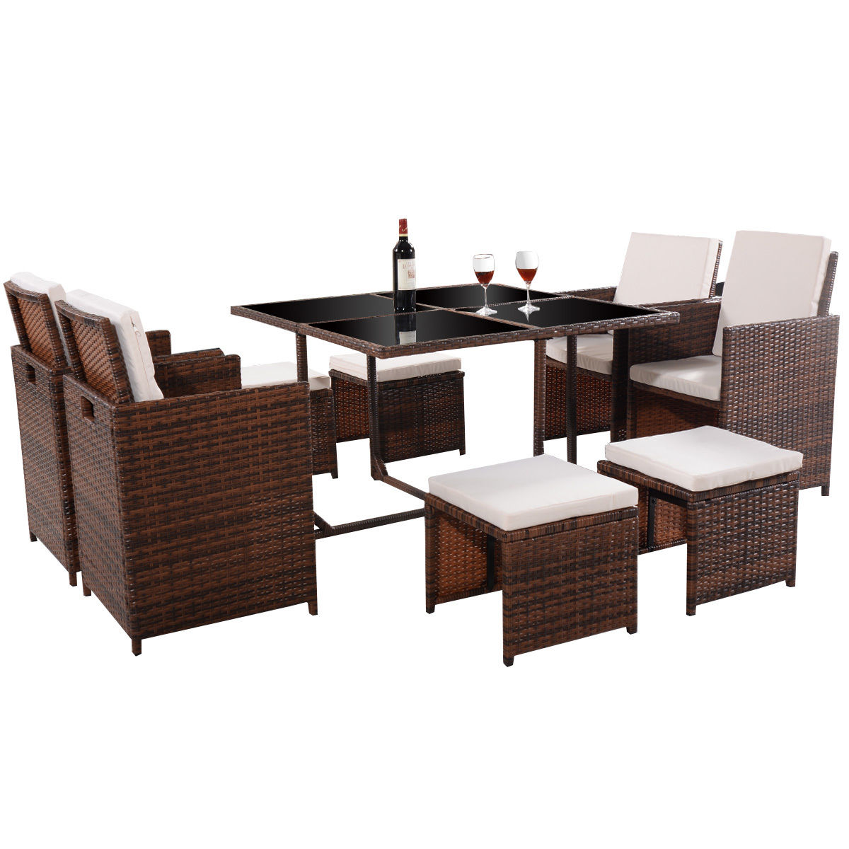 GHP 9-Pcs Brown PE Rattan Beige Cushion Single Chair Ottoman & Dining Table Furniture