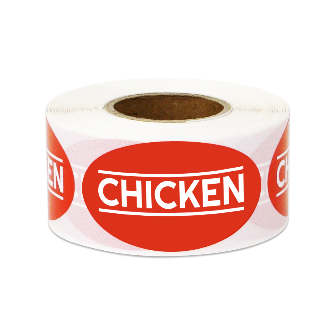 """1.75"""" x 1"""" Chicken Stickers Labels for Food Packaging, Food Labeling, Butchers etc. (1 Roll / Red)"""
