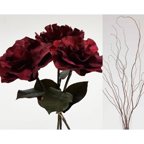 Charlton Home Curly Willow and Burmese Roses Floral Arrangement