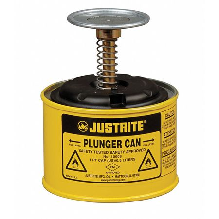 Plunger Can,1 pt.,Steel,Yellow JUSTRITE 10018