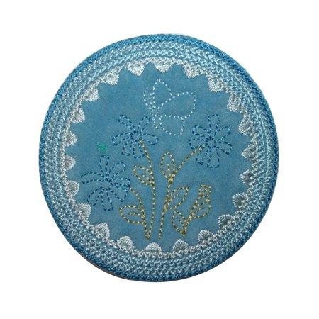 ID 6622 Blue Garden Flower Patch Felt Circle Spring Embroidered Iron On Applique](Felt Flower Crown)