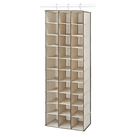 08753f2aeb7d Whitmor 30-Section Hanging Shoe Shelves, Tan/Espresso - Walmart.com