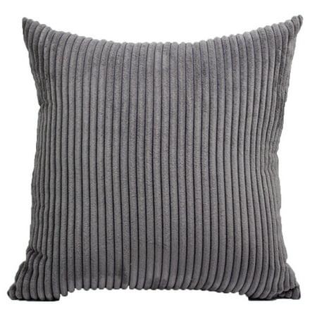 SHOPFIVE Soft Striped Corduroy Solid Decor Toss Pillow Case Cushion Cover Sofa Latest