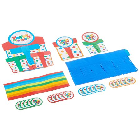 Happy Birthday Boy Polka Dots Table Decorating Kit Assorted Party Decoration (23 Pack), Multi Color, ., Features (3) rainbow polka dotted 3-D birthday gift.., By TradeMart Inc