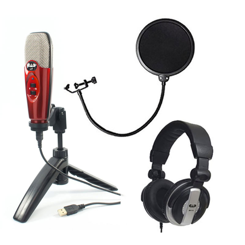 CAD U37 CANDY RED  USB Studio Vocal Recording Mic Package + Pop Filter + Headphones