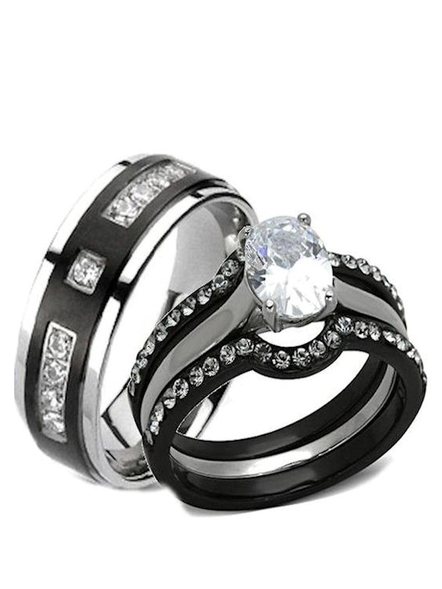 His Hers 4 Piece Black Stainless Steel Titanium Matching Wedding
