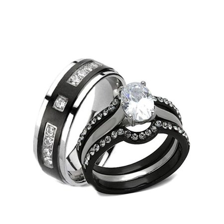 His Hers 4 Piece Black Stainless Steel Anium Matching Wedding Band Engagement Ring Set