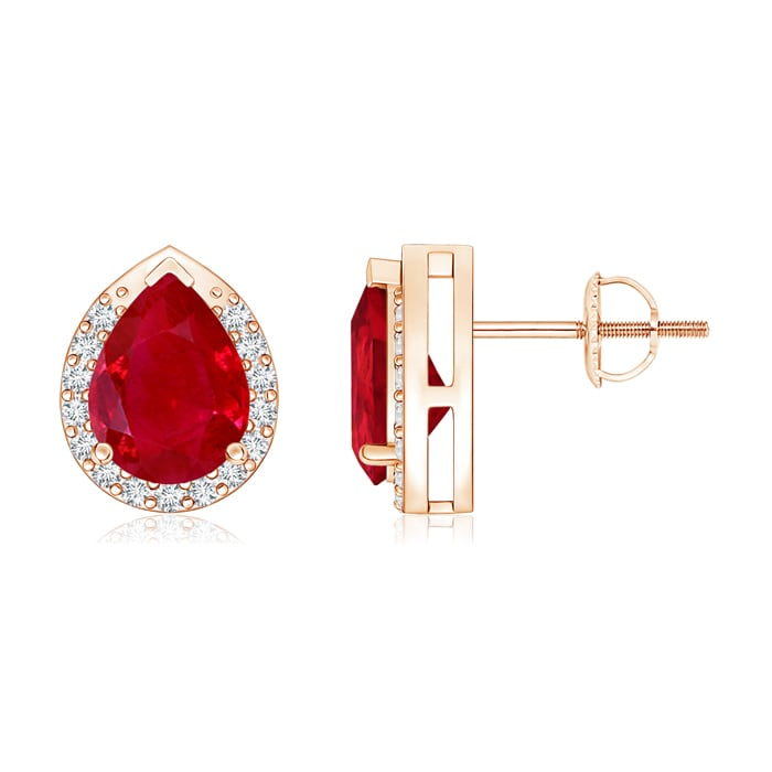 Angara Pear Shaped Ruby Diamond Halo Stud Earrings in Rose Gold