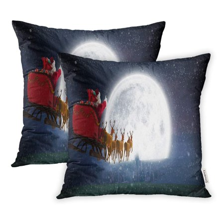YWOTA Santa Claus Riding on Sleigh Box Against Bright Moon Over City Pillow Cases Cushion Cover 18x18 inch