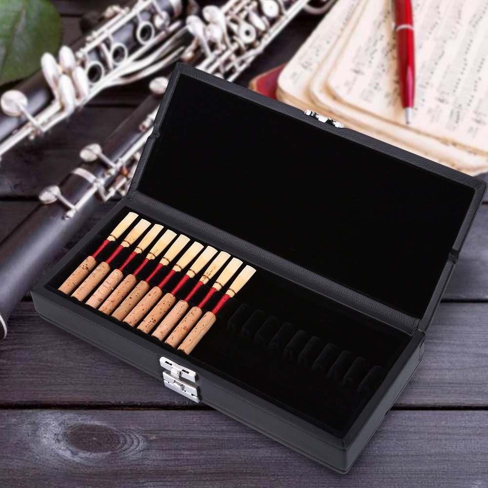 Oboe Reed Case Box Wooden + PU Leather Cover 2 Layers Oboe Reeds Box Case Holder Storage... by