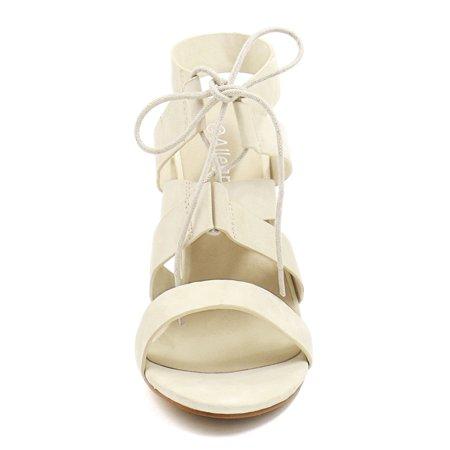 Unique Bargains Women's Chunky High Heels Cutout Detail Lace Up Sandals Beige (Size 6) - image 2 of 7