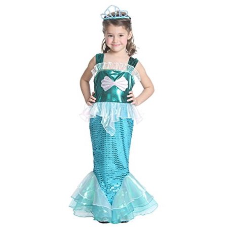 JFEELE Girls Little Mermaid Costume Turquoise Fairy Sequins Mermaid Dress Up Outfit 46 Year (Little Girl Fairy Costume)