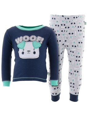Duck Duck Goose Little Boys' Navy Woof! Dog Cotton Pajamas
