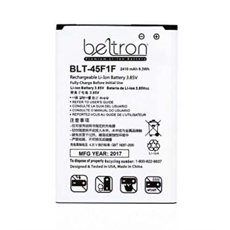 New 2410 mAh BELTRON Replacement Battery for LG LV3/Aristo MS210 (Metro PCS & T-Mobile) BL-45F1F