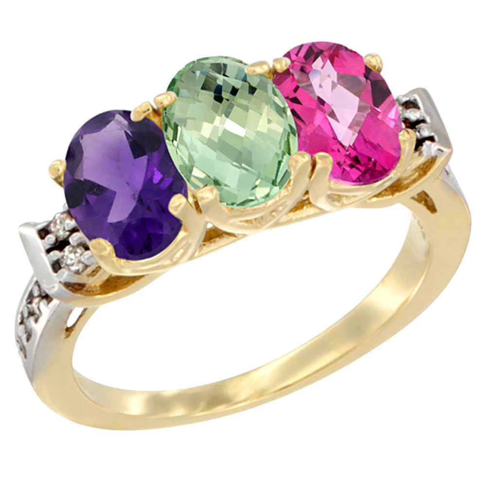 10K Yellow Gold Natural Amethyst, Green Amethyst & Pink Topaz Ring 3-Stone Oval 7x5 mm Diamond Accent, sizes 5 10 by WorldJewels