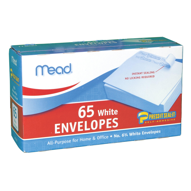 Mead Press-It Seal-It #6 3/4 Envelopes, White