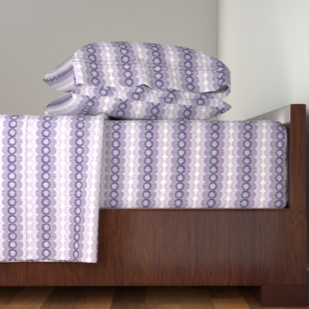 Purple And Gray Purple Circle Pattern 100% Cotton Sateen Sheet Set by Roostery