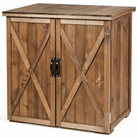 Gymax 2.5 X 2 Ft Outdoor Wooden Storage Shed Cabinet W/ Double Doors for Garden Yard