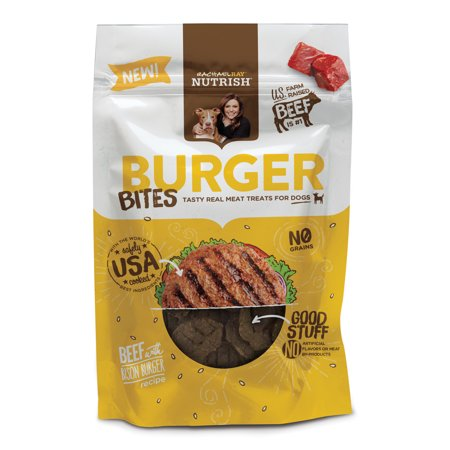 (Rachael Ray Nutrish Burger Bites Grain Free Dog Treats, Beef Burger with Bison Recipe, 3 oz)