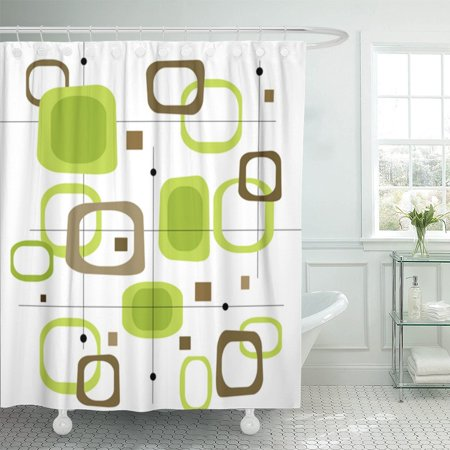 PKNMT Retro Lime Green and Brown Squares Spot of Layered Polyester Shower Curtain 60x72