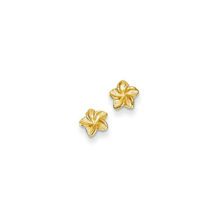 14kt Yellow Gold Plumeria Flower Post Stud Ball Button Earrings Gardening Fine Jewelry Ideal Gifts For Women Gift Set From Heart