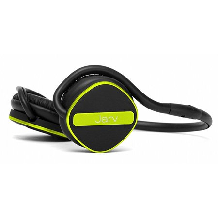 Jarv Joggerz PRO Sports Bluetooth Headphones with Built-In Microphone , Secure Neckband Design - 20 Hours of Run Time - Black/Green (Run Nyc Headphones)