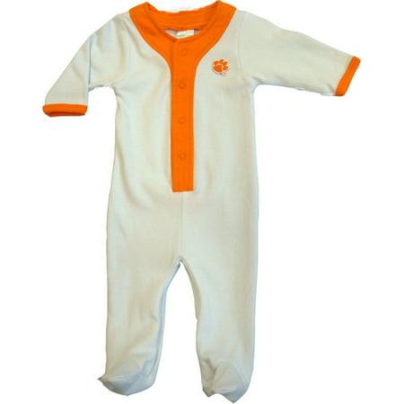 Clemson Tiger Baby Long Sleeve Baseball Style Playsuit