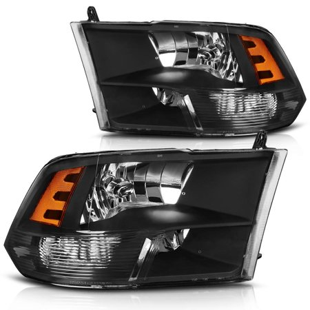 Headlight Assembly for 2009-2018 Dodge Ram 1500 2500 3500 Pickup Headlamp Replacement,Black Housing Amber Reflector 2009 2010 2011 2012 2013 2014 2015 2016 2017 2018 (Sonnenbrille 2017 Frauen)