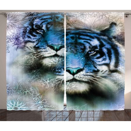 Animal Curtains 2 Panels Set, Two Tiger Safari Cat African Wild Furious Life Big Animals Artwork Print, Window Drapes for Living Room Bedroom, 108W X 63L Inches, Blue Black and White, by Ambesonne
