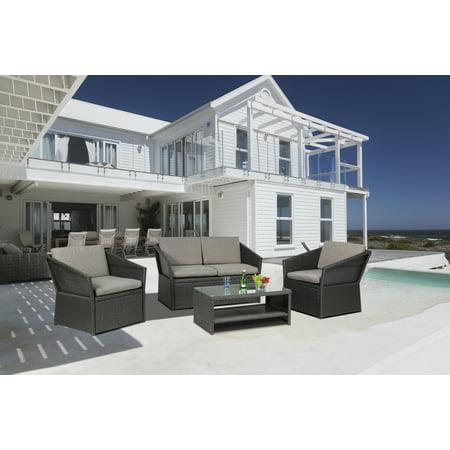 Baner Garden N77 Outdoor Furniture 4 Pieces Patio Wicker Rattan Garden Set with Grey Cushions, Black ()