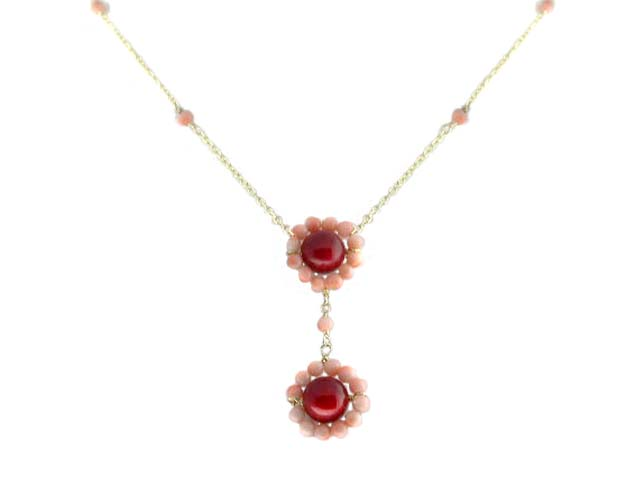 14k Yellow Gold Beaded Coral Flower Necklace by
