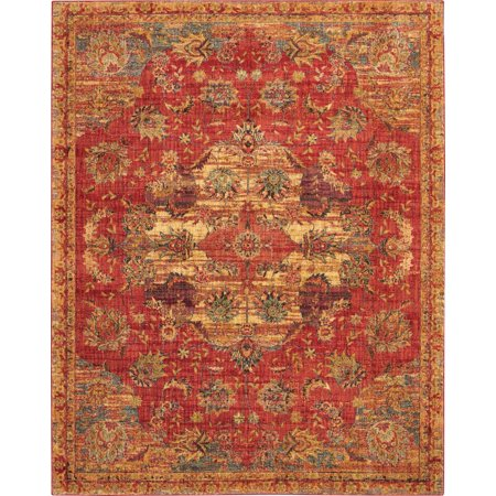 - Nourison 8 X 10 Red Jewel Area Rug JEL01