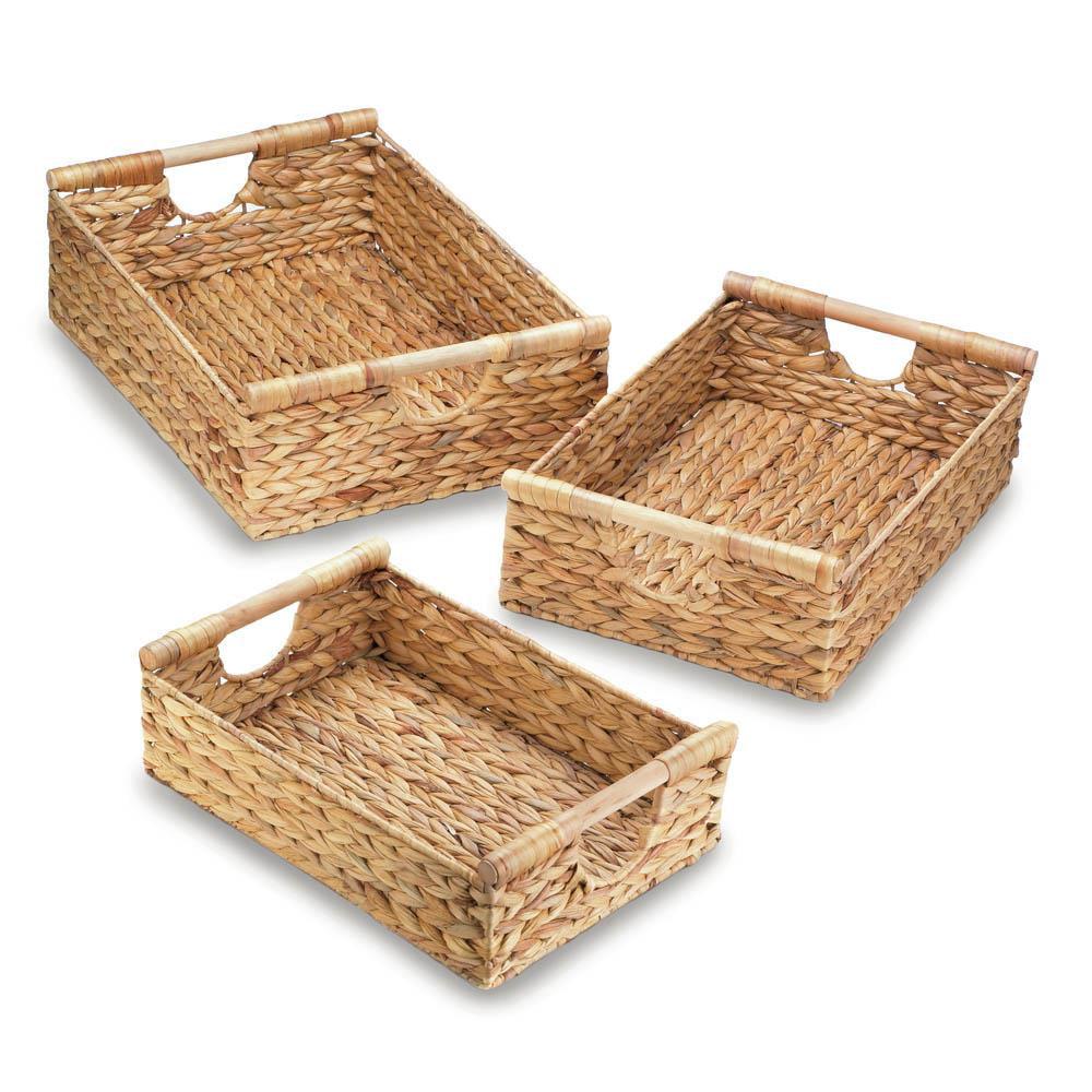 Decorative Storage Baskets, Stackable Wicker Storage Baskets, Straw (set Of 3) by Accent Plus