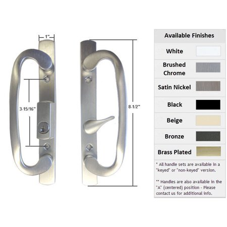 Sliding Glass Patio Door Handle Set, Mortise Type, B-Position, Latch Lever is Off-Centered, Keyed, Brushed Chrome, 3-15/16