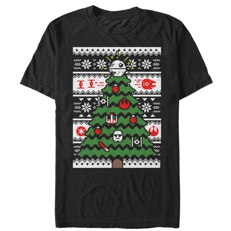 Star Wars Men's Ugly Christmas Sweater Tree T-Shirt (Ugly Sweater T-shirt)