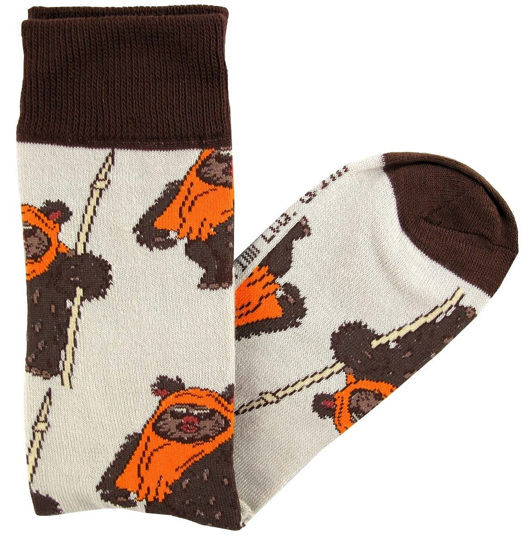 Star Wars Socks Wicket Ewok Pattern Men's Crew Socks Shoe Size 6-12