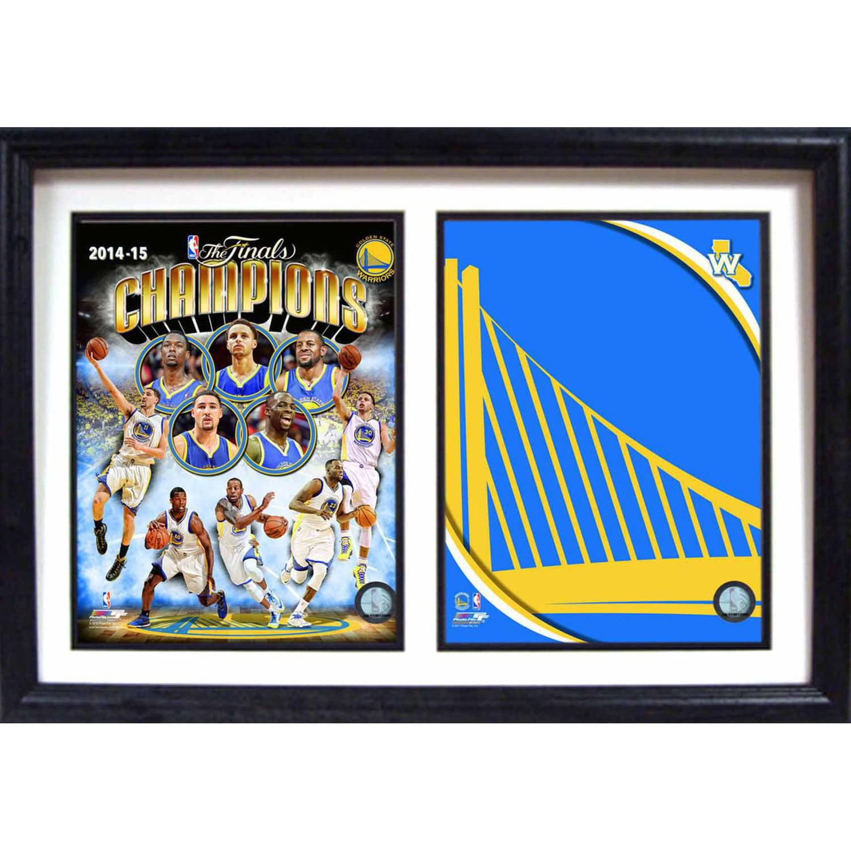 "12"" x 18"" Double Frame, 2015 NBA Champions Golden State Warriors Logo"