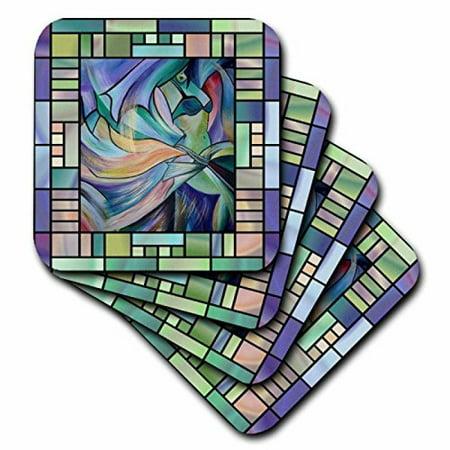 3dRose Art deco Dancer - dance, dancing, belly dance, bellydance, oriental dance, middle eastern dance, , Ceramic Tile Coasters, set of 4