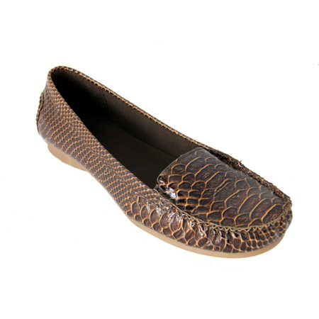 Wholesale Exotic Dancer Shoes (Women's Brown Exotic Animal Print Snake Skin Comfort Loafer Shoes - Size)