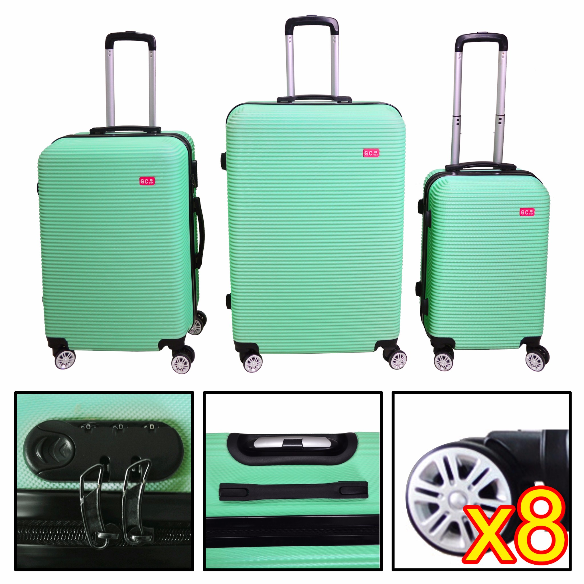 3 Pcs ABS Luggage Hard Suitcase Spinner Set Travel Bag Trolley Wheels Coded Lock by