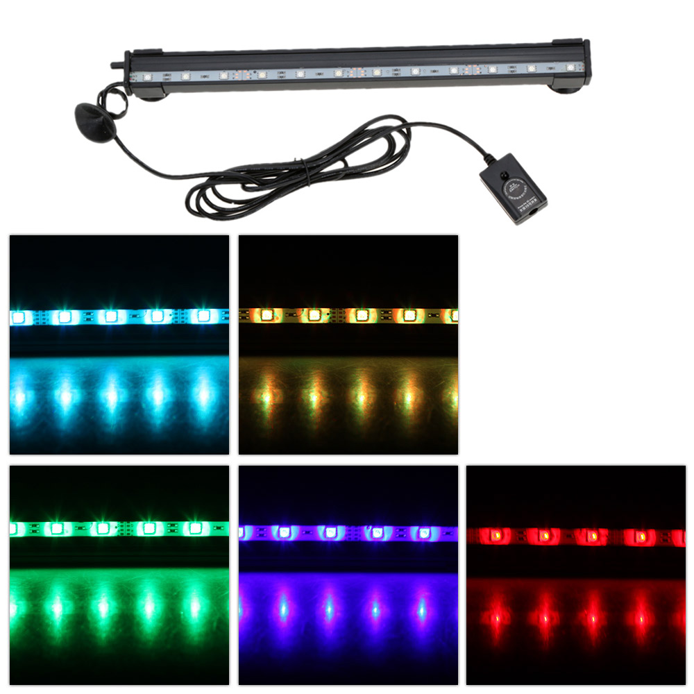 31cm 4.1W 12 LEDs Bubble Aquarium Light 120 Degree RGB 15Colors IP68 Submersible Remote Control Fish Tank LED... by