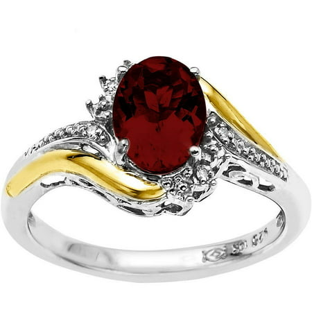 8mm x 6mm Oval Garnet and Diamond Accent Ring in Sterling Silver with 10kt Yellow Gold