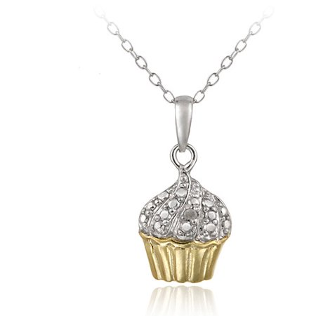 18k Gold over Sterling Silver Diamond Accent Cupcake Necklace