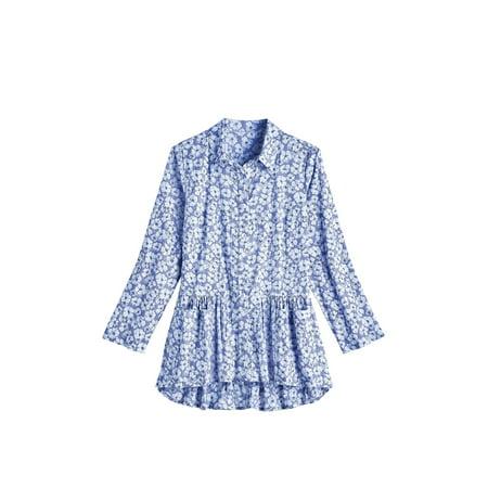 April Cornell Women's Pansies Print Flounce Tunic Top - Button Front Long Sleeve April Cornell Pot Holders