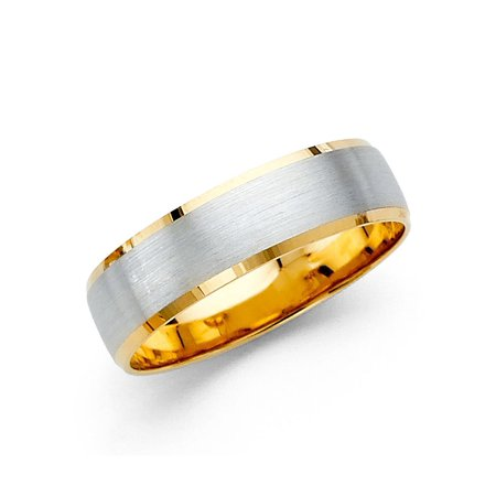 Solid 14k Yellow White Gold Plain Wedding Band Classic Ring Satin Finish Two Tone Mens Womens 5 mm